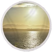 Round Beach Towel featuring the photograph And The Sun Goes Down by Melissa Lane