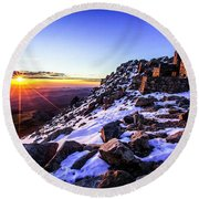 And Then There Was Light Round Beach Towel by Kristal Kraft