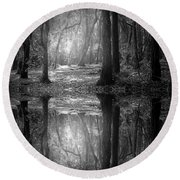 And There Is Light In This Dark Forest Round Beach Towel