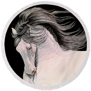 Andalusian In Color Pencil Round Beach Towel by Cheryl Poland