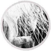 Andalusian Stallion Black And White Round Beach Towel