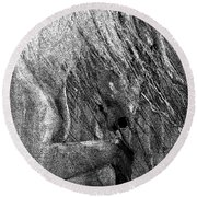 Round Beach Towel featuring the painting Andalusian Stallion Black And White Stippled by Jani Freimann