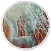 Round Beach Towel featuring the painting Andalusian Stallion Less Blue by Jani Freimann