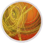 Round Beach Towel featuring the digital art Andee Design Abstract 10 2017 by Andee Design