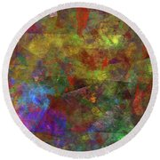 Round Beach Towel featuring the digital art Andee Design Abstract 12 2017 by Andee Design