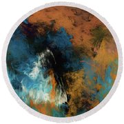 Round Beach Towel featuring the digital art Andee Design Abstract 17 2017 by Andee Design