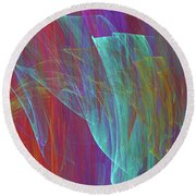 Round Beach Towel featuring the digital art Andee Design Abstract 18 2017 by Andee Design