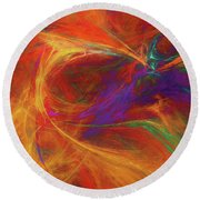 Round Beach Towel featuring the digital art Andee Design Abstract 33 2017 by Andee Design