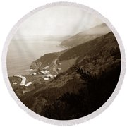 Anderson Creek Labor Camp Big Sur April 3 1931 Round Beach Towel by California Views Mr Pat Hathaway Archives