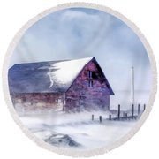 Round Beach Towel featuring the painting Anderson Dock Winter Storm by Christopher Arndt