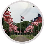 Round Beach Towel featuring the photograph Andersonville National Cemetery by Jerry Battle