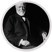 Andrew Carnegie - American Philanthropist Round Beach Towel