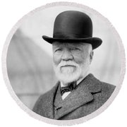 Andrew Carnegie Portrait - 1913 Round Beach Towel