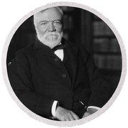 Andrew Carnegie Seated In A Library Round Beach Towel