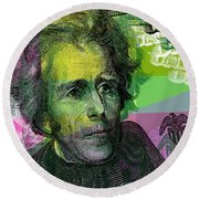 Round Beach Towel featuring the digital art Andrew Jackson - $20 Bill by Jean luc Comperat