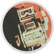 Android Short Circuit  Round Beach Towel