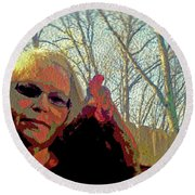 Andy And Me Round Beach Towel by Donna Brown