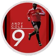 Andy Cole Round Beach Towel by Semih Yurdabak