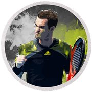 Andy Murray Round Beach Towel by Semih Yurdabak