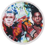 Andy Warhol And Jean-michel Basquiat Round Beach Towel