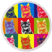 Andy Warhol Cat Round Beach Towel