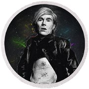 Andy Warhol Round Beach Towel by Semih Yurdabak