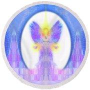 Round Beach Towel featuring the digital art Angel #200 by Barbara Tristan