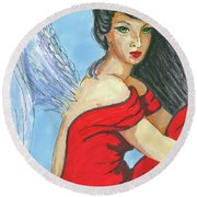 Angel Among Us Round Beach Towel