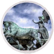 Angel And Chariot With Horses Round Beach Towel by Sonny Marcyan