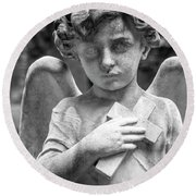 Angel And Cross Round Beach Towel by Sonny Marcyan