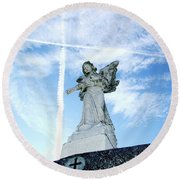 Angel And Crosses Round Beach Towel