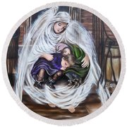 Flying Lamb Productions.        Angel And The Orphans Round Beach Towel