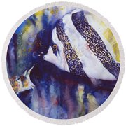Angel And Unicorn Round Beach Towel