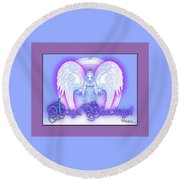 Round Beach Towel featuring the digital art Angel Blessings #196 by Barbara Tristan