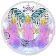 Round Beach Towel featuring the digital art Angel Cousins #198 by Barbara Tristan