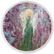 Angel Draped In Hydrangeas Round Beach Towel