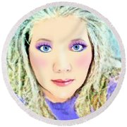 Round Beach Towel featuring the photograph Angel Eyes by Barbara Tristan