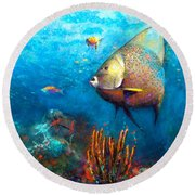 Round Beach Towel featuring the painting Angel Fish by Andrew King