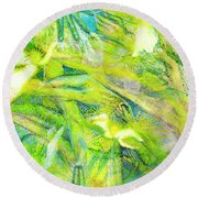 Round Beach Towel featuring the painting Angel Forest by Kym Nicolas