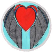 Angel Heart Round Beach Towel by Ronald Woods