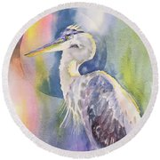 Angel Heron Round Beach Towel