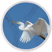 Round Beach Towel featuring the photograph Angel In Flight by Fraida Gutovich