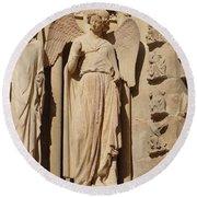 Angel In Reims Round Beach Towel