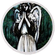 Angel In The Garden Round Beach Towel