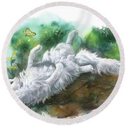 Round Beach Towel featuring the painting Angel In The Morning by Sherry Shipley