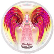 Round Beach Towel featuring the digital art Angel Intentions Divine Timing by Barbara Tristan