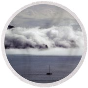 Angel Island Fog Round Beach Towel
