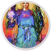 Angel Love Round Beach Towel