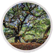 Angel Oak In Digital Oils Round Beach Towel