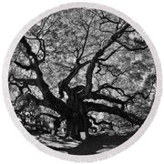 Angel Oak Johns Island Black And White Round Beach Towel
